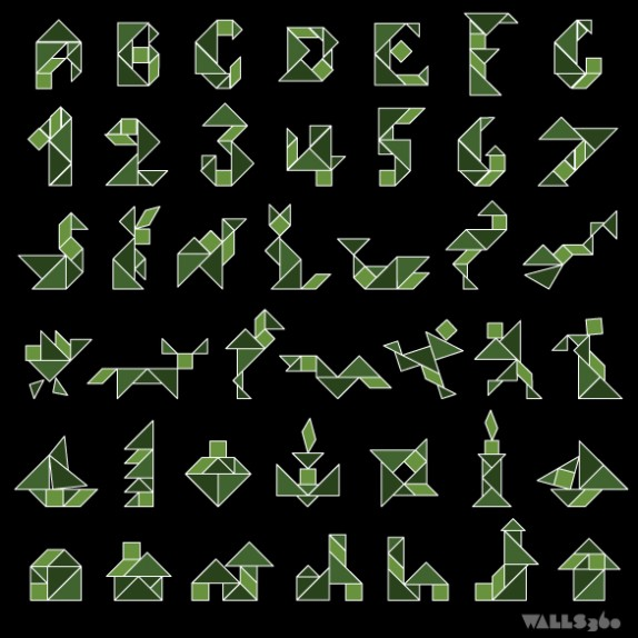 Wall Tangrams: Shapes Guide I (Camo Green)