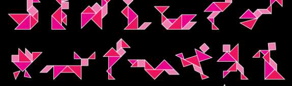 Wall Tangrams: Shapes Guide I (Bright Pink)
