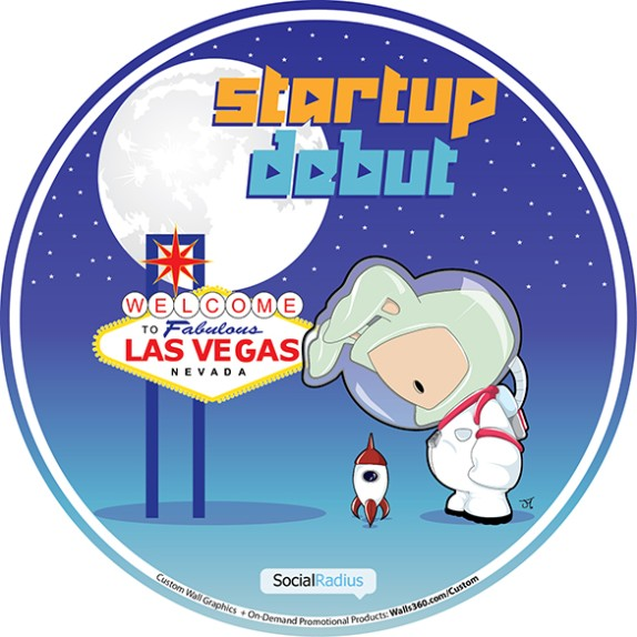 Custom Wall Graphics + Promotional Badges for STARTUP DEBUT at #CES2014 in Las Vegas!