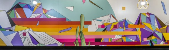 Walls360 custom wall-to-wall WALL GRAPHICS for LAS VEGAS artist ERIC VOZOLLA