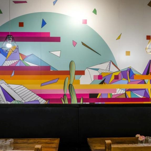 Walls360 custom wall-to-wall WALL GRAPHICS for LAS VEGAS artist ERIC VOZOLLA
