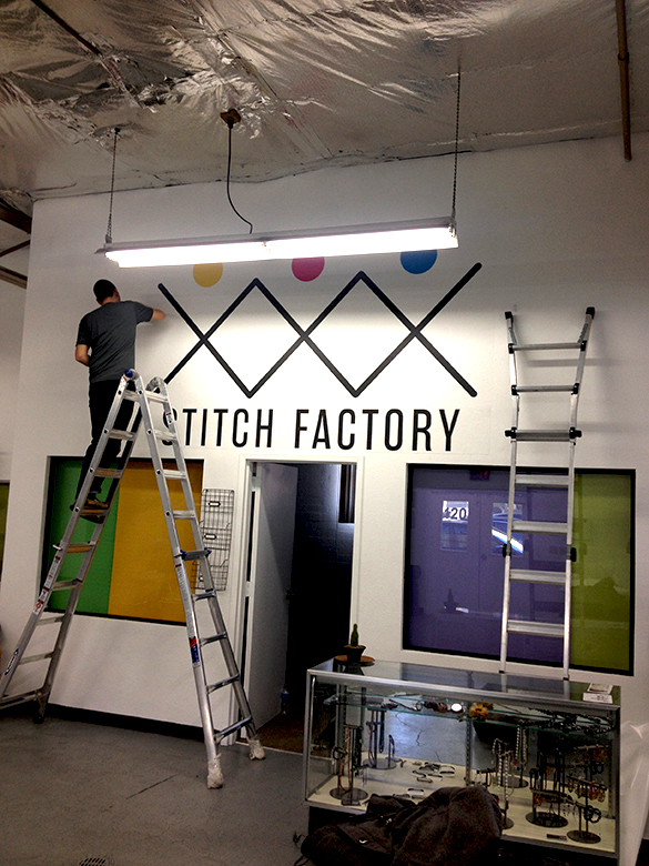 Custom Wall Graphics + Promotional Badges for Stitch Factory in Las Vegas!