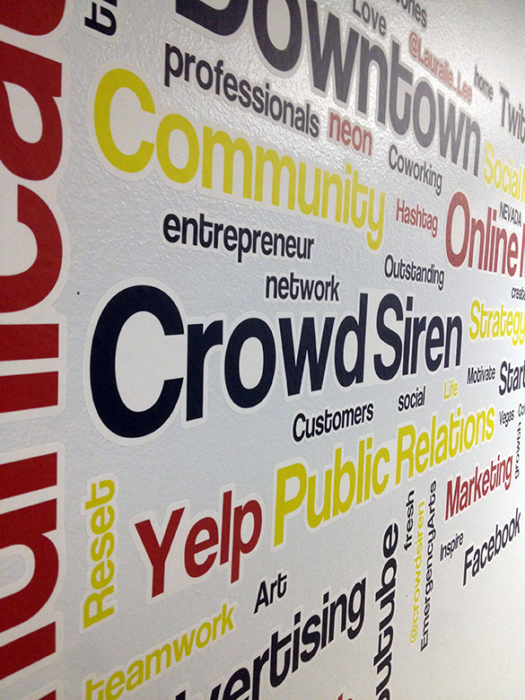 Custom wall graphics for the Crowd Siren offices in Emergency Arts, Downtown Las Vegas!