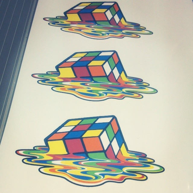 Rubik's Cube Melting Cube Re-Positionable Wall Graphics Preview!
