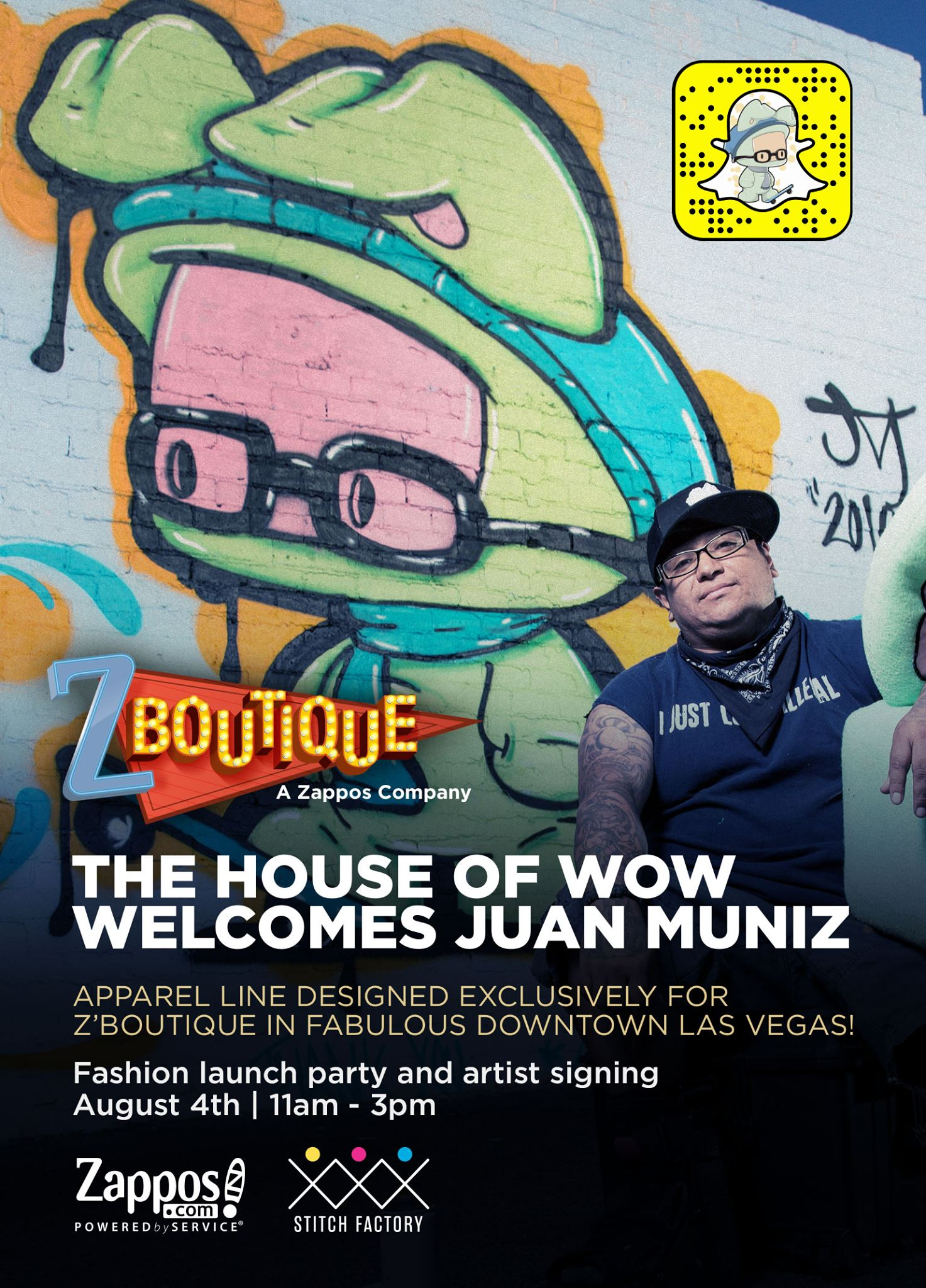 Walls360 custom wall graphics for Las Vegas artist Juan Muniz at Zappos Z'Boutique