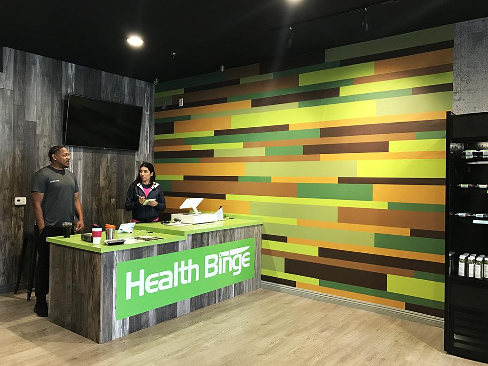 Walls360 custom wall-to-wall graphics for Health Binge #TryHealthBinge