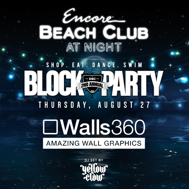 Wall-to-Wall Custom Graphics for Artist Juan Muniz at Encore Beach Club in Las Vegas 2017 #EBCBlockParty