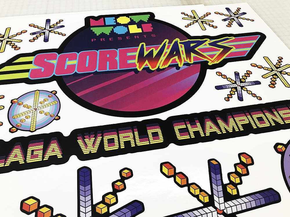 Walls360 custom wall graphics for Galaga World Championship 2018 at Meow Wolf in Santa Fe, New Mexico #MeowWolf #Galaga #ScoreWars