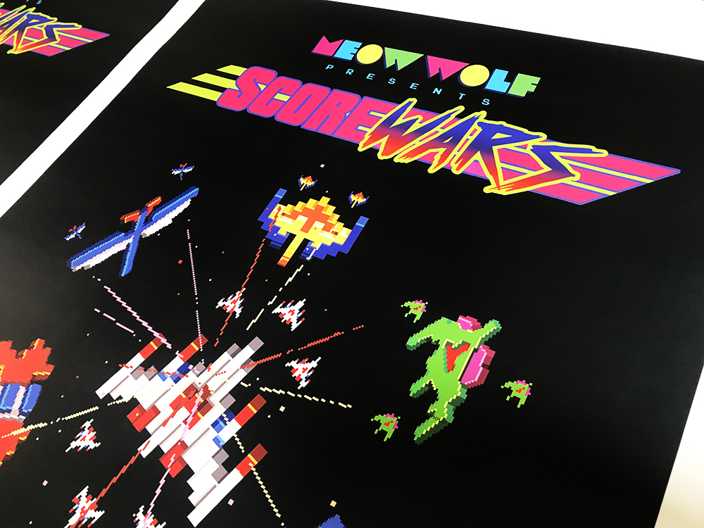 Walls360 created a collection of custom wall graphics for ScoreWars: Galaga World Championship at MEOW WOLF in Santa Fe, New Mexico.